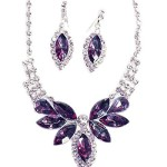 Eggplant Purple Butterfly Crystal & Crystal Rhinestone Necklace/Earring Set – Purple Bridesmaid Jewelry
