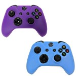 HDE 2 Pack Protective Silicone Gel Rubber Grip Skin Cover for Xbox One Wireless Gaming Controllers (Blue + Purple)