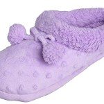 """Beyond girls"" Girls Plush Fleece Clog Slipper With Fun Pom Poms & Polka Dots (13-1 Little/Big Kid, Purple)"