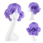 Simpleyourstyle Anime Cosplay Wigs Purple Lolita Short Curly Wigs
