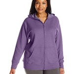 Just My Size Women's Plus-Size Full Zip Fleece Hoodie, Violet Splendor Heather, 2XL