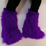 Purple Fluffy Leg Warmer Boot Cover Clubwear Fluffies Dance Halloween
