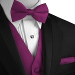 Italian Design, Men's Tuxedo Vest, Bow-Tie & Hankie Set in Sangria
