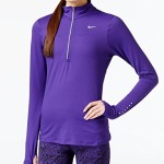 Nike Women's Dri-Fit Element 1/2 Zip L/S Running Top-Royal Purple-Large