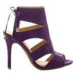 Women's Peep Toe Cut Out Strappy Lace Up high heel Ankle Sandals (Purple)