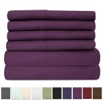 6 Piece 1500 Thread Count Egyptian Quality Deep Pocket Bed Sheet Set – 2 EXTRA PILLOW CASES, GREAT VALUE – Queen, Purple