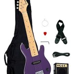 1/2 Half Size Kids Purple 30″ Inch Electric Guitar and Amplifier Pack & Gig Bag, Strap, Cable, & DirectlyCheap(TM) Translucent Blue Medium Guitar Pick