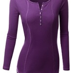 Doublju Women Colorful Overlock Long Sleeve Big Size T-Shirt VIOLET,XL