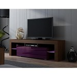 TV Stand MILANO 160 / Modern LED TV Cabinet / Living Room Furniture / Tv Console fit for up to 70″ flat TV screens / Capacity Tv Console for Modern Living Room (Walnut and Purple)