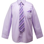 Spring Notion Boys Dress Shirt with Tie and Handkerchief Set 10 Lilac