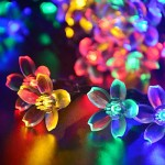 LUCKLED Flower Solar String Lights, 21ft 50 LED Multi-Color Fairy Blossom Christmas Lights Decorative Lighting for Indoor/Outdoor, Home, Garden, Patio, Lawn, Party and Holiday Decorations