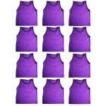 BlueDot Trading Adult Sports Pinnies High Quality Scrimmage Training Vests (12-Pack), Purple