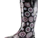 Women's Puddles Rain and Snow Boot Multi Color Mid Calf Knee High Rainboots,Purple Daisy 8 B(M) US