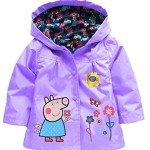 Cartoon Peppa Pig Flower Baby Girls Kids Rain Coat Jacket Coat Hoodie Outwear 5-6T Purple
