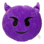 Emoji Comfort Emoji Smiley Round Yellow Emoticon Cushion Stuffed Plush Toy Various Designs (Purple Devil)