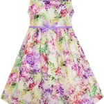 HA66 Sunny Fashion Girls Dress Blooming Flower Garden Print Sleeveless Purple Size 10