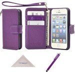 iPhone SE 5s 5 Case, Wisdompro® Premium PU Leather 2-in-1 Protective [Folio Flip] Wallet Case with Multiple Credit Card Holder/Slots and Wrist Lanyard for Apple iPhone SE/5s/5 (Purple)