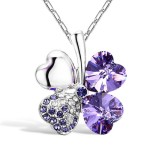 Merdia Four Leaf Clover Heart-shaped Swarovski Elements Crystal Pendant Necklace 16″ + 2″ Extender(Purple)
