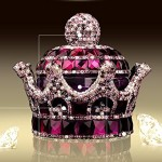 Mini-Factory 3D Bling Crystal Gemstone Diamond Purple Crown Design Refillable Glass Air Refresher Perfume Bottle for Car / Home / Office Decoration (Bottle Only, Perfume NOT included)