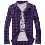 Orangetime Men Long-Sleeve Plaid Shirt XL Purple