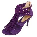ENMAYER Women's Purple Spring And Summer Fringed High heels Sweet Buckled Up Pumps With Rivets And Zipper 10B(M) US