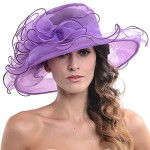 Women Kentucky Derby Church Dress Organza Hat Wide Brim Flat Hat (8 Colours) (SM019-Purple)