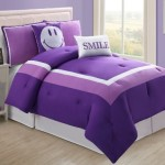 4 Pc Modern Purple and White Girls Comforter Set, Twin Size Bedding, Bed in a Bag, By Plush C Collection
