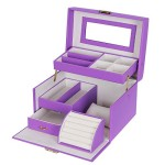 Songmics Purple Leather Jewelry Box Lockable Makeup Storage Case with Mirror UJBC114P