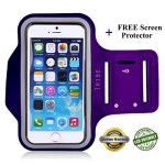Lifetime Warranty + FREE Screen Protector Eco-Friendly Tribe Sports Running Armband + Key Holder Anti Slip Sweat Resistant For Apple iPhone 6 Plus (5.5″) Samsung Galaxy S4 S5, Note 3 (iPhone 6 Plus Purple)