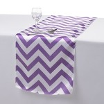Remedios 14×108 Inch Satin Chevron Wedding Party Table Runner Purple