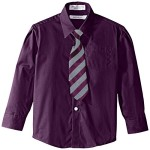 Perry Ellis Little Boys' Solid Broadcloth Packed Shirt with Tie, Black Current, 07