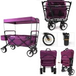 EverydaySports NEW 4th GENERATION Folding Collapsible Wagon with Canopy and Kids Seat Belt – Utility Outdoor Beach Camping Cart (Purple)