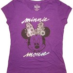 Disney Juniors Minnie Mouse Floral Bow Tie T-Shirt (Large, Purple)