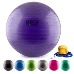 MEGALOVEMART® Purple Anti-Burst Exercise Balance Stability Fitness Yoga Ball w/ Pump – 65cm
