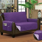 Bella Kline Reversible SOFA LOVESEAT Furniture Protector, With 2 Storage Pockets – Purple / Lavender