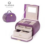 Vlando Princess Style Jewelry Box from Netherlands Design Team, with Mirror and Storage Drawers (Purple)