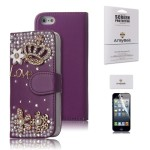ArmyBee inc Apple iPhone 5 5S Bling Purple Crystal 3D Love Crown Premium PU Leather Flip Wallet Case With Card Holder Design for Girls (Color:Purple, Fits:Apple iPhone 5 And The New 5S(2013 Version), Package includes: 1 X ArmyBee(TM) Screen Protector)