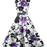 Killreal Women's 1950's Sleeveless Cotton Vintage Rose Floral Spring Garden Party Cocktail Picnic Dress Purple Small