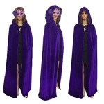Juanshi Unisex Hooded Velvet Cloak Role Play Costume Halloween Party Cape Color Purple Size M