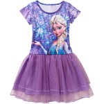 Disney Frozen Elsa Short Sleeve Tutu Dress Big Girls' M(7-8) Purple