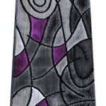 Masada Rugs, Modern Contemporary Runner Area Rug, Purple Grey Black (2 Feet X 7 Feet)