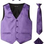 American Exchange Big Boys' Boys Satin 4 Piece Vest Set, Purple, 14