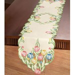Multicolor Tulips Table Linens Runner