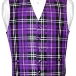 Men's Plaid Design Dress Vest & BOWTie Purple Black White BOW Tie Set Medium