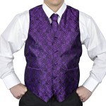 Moda Di Raza- Mens Slim Fit Paisley Tuxedo Dress Suit Vest Set – Purple/ Large
