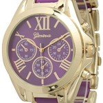 Women's Geneva Roman Numeral Gold Plated Metal/Nylon Link Watch – Purple