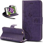 iPhone 6S Plus Case,iPhone 6 Plus Case,NSSTAR Butterfly Flower PU Leather Fold Wallet Pouch Case Premium Leather Wallet Flip Stand Credit Card ID Holders Case Cover for iPhone 6S/6 Plus 5.5″,Purple