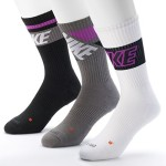 Nike Dri Fit Men's Cushioned Crew Socks (Large, Black purple/Grey/White)
