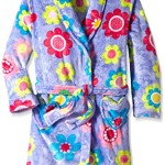 Komar Kids Big Girls' Flower Velvet Fleece Robe, Purple, Medium