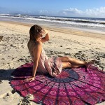 Indian Mandala Round Roundie Beach Throw Tapestry Hippy Boho Gypsy Cotton Tablecloth Beach Towel